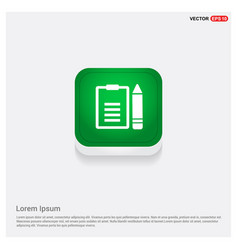 edit document icon green web button vector image