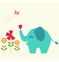 Elephant with heart vector image