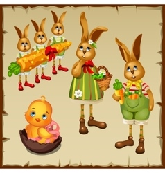 Family of rabbits and chicken in chocolate egg vector