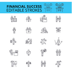 Financial success ouline icons editable vector
