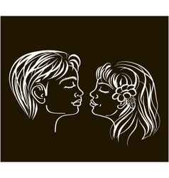 first kiss in white on black colours vector image