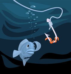 fish gazing at a hook with a worm vector image