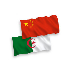 Flags algeria and china on a white background vector
