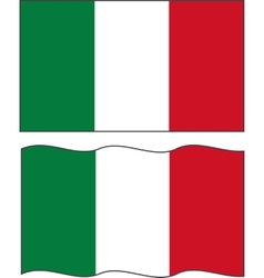 Flat and waving Italian Flag vector