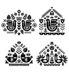 folk art pattern collection with four single vector image