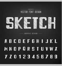 font and alphabet bold typeface and number vector image
