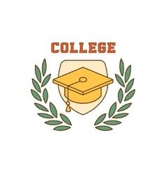 Framed Square Hat College Logo vector