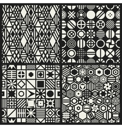 Geometric seamless patterns set vector