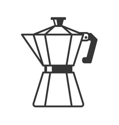 Geyser coffee maker pot icon on white background vector