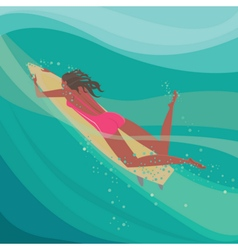 Girl on a surfboard in the ocean vector image