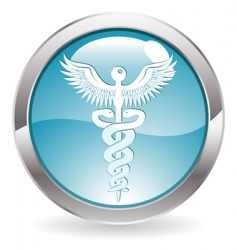 gloss button with medical sign vector image