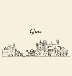 Goa skyline india hand drawn sketch vector