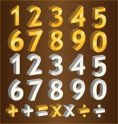 Gold number and silver number design vector