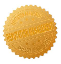 Gold reputation management badge stamp vector