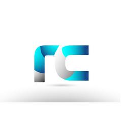 Grey blue alphabet letter rc r c logo 3d design vector