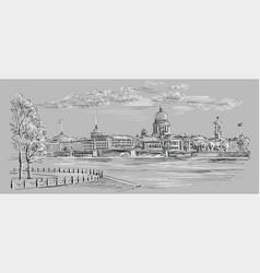 Grey hand drawing st petersburg 8 vector