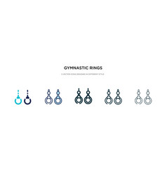 gymnastic rings icon in different style two vector image