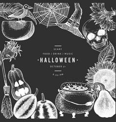 halloween design template hand drawn on chalk vector image