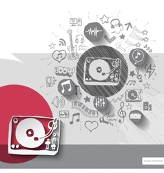 Hand drawn dj icons with icons background vector image