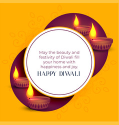 Happy diwali indian festival greeting template vector