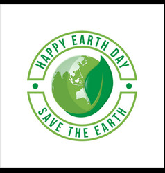 happy earth day logo design vector image