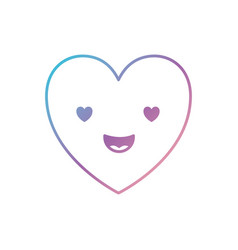 Heart kawaii in enamored expression in degraded vector