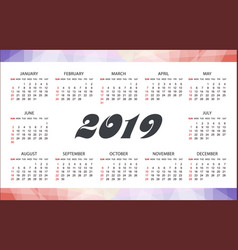 horizontal modern calendar template for 2019 years vector image