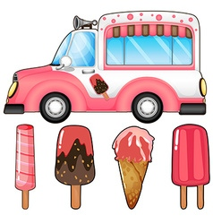 Ice cream truck and many ice cream vector