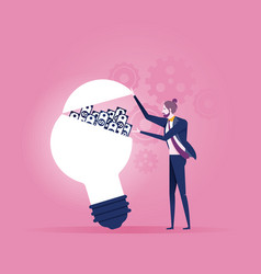 idea make money businessman opening a lightbulb vector image