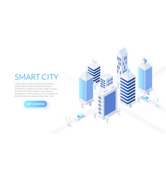 isometric smart city business center vector image