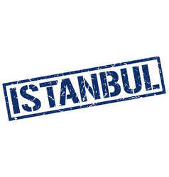 Istanbul blue square stamp vector