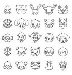 lineart isolated animals cute baby cartoon cubs vector image
