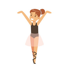 Little girl in pink tutu dancing ballet in classic vector