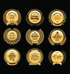 Luxury golden badges laurel wreath templates vector