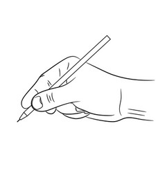 Male hand holding a pen black brush lines of vector