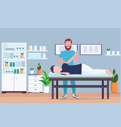 Man patient lying on massage table therapist doing vector
