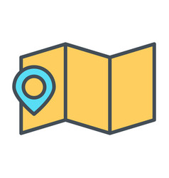 map location with pin line icon minimal pictogram vector image