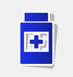 Medical container sign new year bluish vector