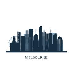 melbrourne skyline monochrome silhouette vector image