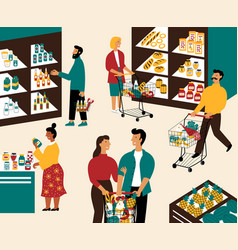 Men and women buying products at grocery store vector