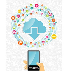 Mobile cloud computing network concept vector image