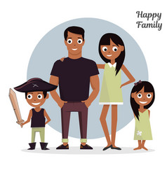Mom dad with a daughter and son vector
