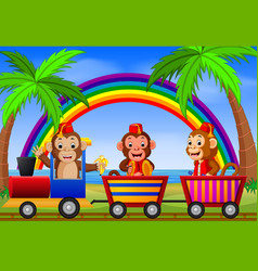 Monkey on the train with rainbow vector