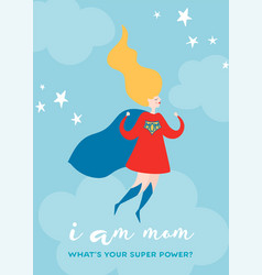 mothers day greeting card with super mom superhero vector image