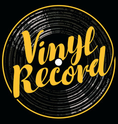 Music poster with vinyl record in retro style vector