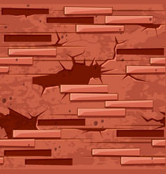 old brick wall texture seamless red brick stones vector image