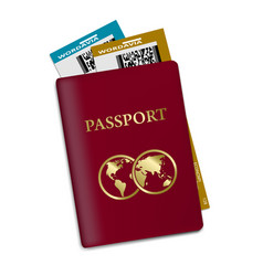 passport with plane tickets vacation id document vector image