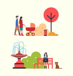 People walking in autumn park with perambulator vector