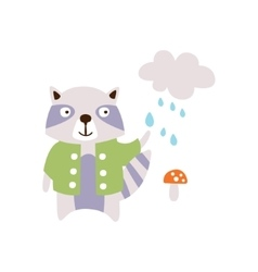 Raccoon WEaring Green Coat Under The Rain In vector