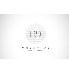 Rd r d logo design with black and white creative vector